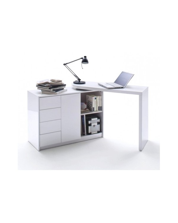 bureau design blanc laqu avec plateau pivotant max direct usine. Black Bedroom Furniture Sets. Home Design Ideas