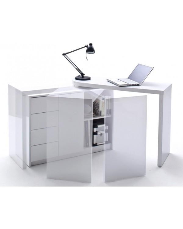 Bureau design blanc laqu avec plateau pivotant max - Bureau design blanc laque amovible max ...