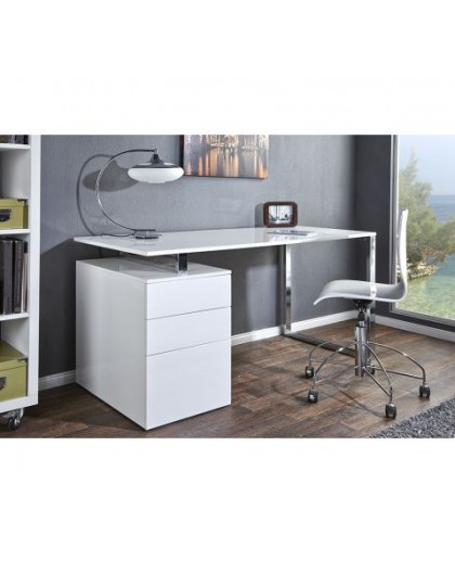 bureau design blanc laqu avec rangement compact direct usine. Black Bedroom Furniture Sets. Home Design Ideas