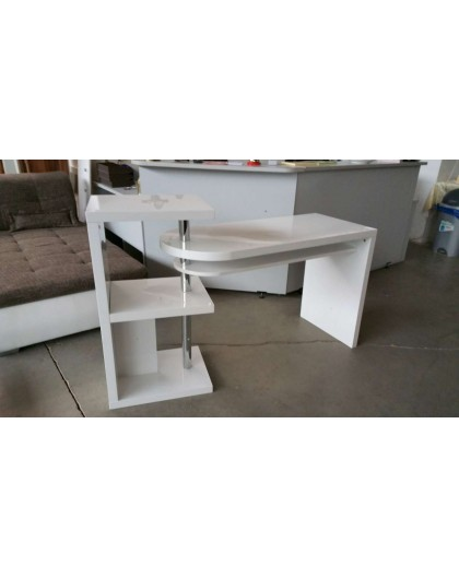 Bureau design blanc laqu avec plateau pivotant occaz du meuble - Bureau avec plateau pivotant ...