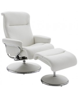 fauteuil relax norman blanc pvc avec repose pieds direct usine. Black Bedroom Furniture Sets. Home Design Ideas