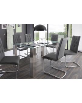 Table en Verre trempé Denver gris laqué 180cm / 90cm
