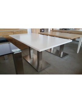 Table Denver blanc laqué Pied allu 120cm / 80cm