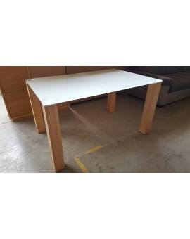 Table Denver verre trempé Pieds Chêne 120cm / 80cm