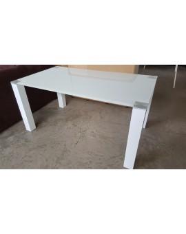 Table Denver verre trempé Pieds Blanc laqué 120cm / 80cm