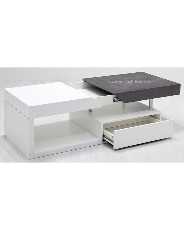 Populaire Table basse blanc et béton coulissant Hope MCA - Occaz du Meuble TK83