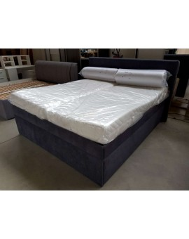Lit Boxspring 180cm/200cm + sommiers relevables tissus anthracite
