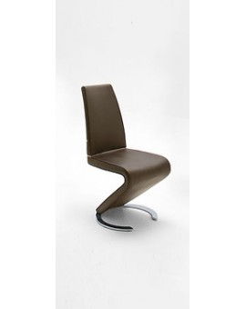 Lot de 4 chaises MCA Real II Cuir véritable choco
