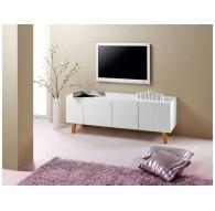 Meuble TV 140 cm finition laqué LONDON blanc