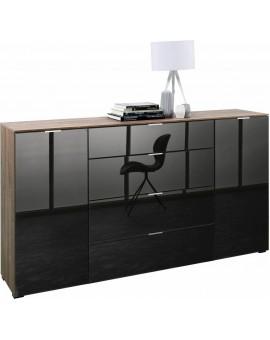 Sideboard Solo700 gris et chêne foncé 181 cm