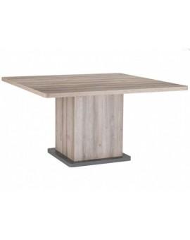 Table carrée Cubana 140cm plaque de verre noire au centre
