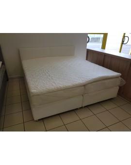 Lit Boxspring 180/200cm PVC blanc Matelas avec Topper 6cm mémoire de forme