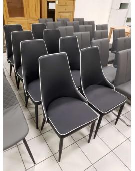 Lot de 8 chaises Design PVC noir et blanc 4 pieds reconditionné