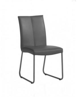 Lot de 4 chaises PVC grises pieds acier Inox