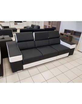"""Canapé 3+2 """"Ewa"""" PVC Noir et Blanc 250cm + 190cm"""