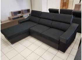 """Canapé angle reversible """"Muna"""" Tissus et PVC Noir 245/180cm fonction lit + coffre"""