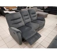 Canapé 3 places relax mécanique velour gris