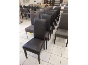 Lot de 8 chaises grise chocolat PVC 4 pieds noirs