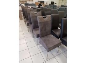 Lot de 6 chaises PVC et cuir retourné cappuccino pieds allu brossé