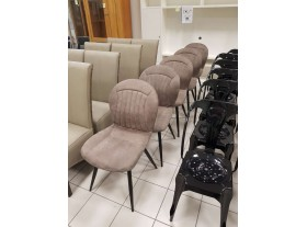 Lot de 6 chaises design tissus alcantara cappuccino 4 pieds noirs expo reconditionné