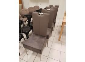 Lot de 4 chaises PVC et cuir retourné cappuccino pieds allu brossé