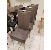 Lot de 6 chaises design grise avec surpiqures PVC 4 pieds noirs