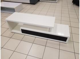 Meuble TV Blanc laqué avec tiroirs gris