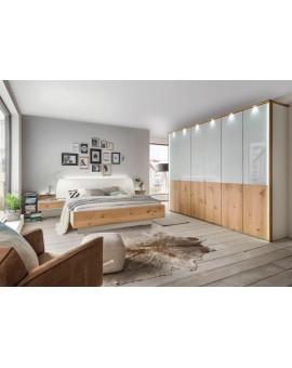 Lit chêne bois véritable et tête de lit rembourrée + chevets intégrés 180/200cm + sommiers et matelas