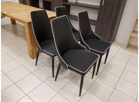 Lot de 4 Chaises PVC Noir liseré blanc reconditionnées