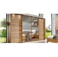 Armoire Kufstein 330cm/220cm portes chêne massif + cadre LEDS