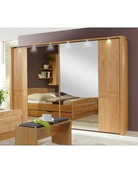 Armoire Lausanne portes miroir et chêne massif 300/217/66cm