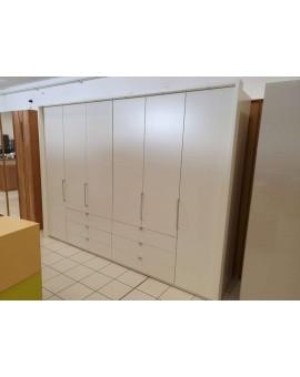 Armoire Loft 300cm 6 portes 6 tiroirs blanc avec cadre à LEDS