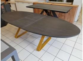 """Table """" Stay """" céramique verre trempé avec allonge 220/270cm pied canary"""