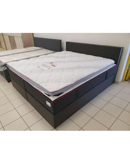 Lit Boxspring 180/200cm PVC Noir Matelas ViscoGel + Topper Mémoire de forme
