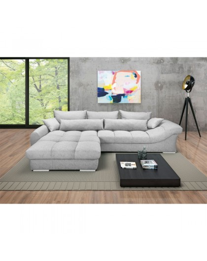 """Canapé """"FREYA"""" 220 x 335 cm revêtement en tissu gris argenté"""