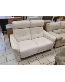 Canapé cuir véritable 2 places blanc