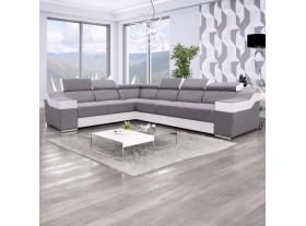 """Canapé angle reversible """"Ewa"""" Tissus gris et PVC blanc 320/260cm"""