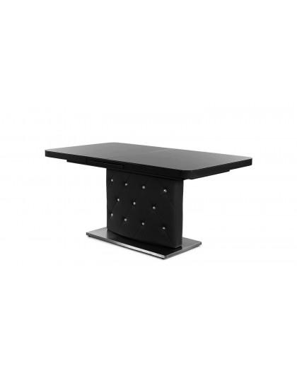 Table Keno noire Pied PVC plateau Verre trempé extensible