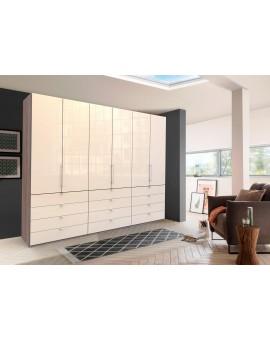Armoire portes papillon WIEMANN »Loft« vitrée 300cm 12 tiroirs magnolia