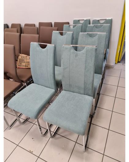Lote de 6 chaises CAVADORE en acier chromé et Tissus Bleu