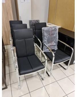 Lote de 6 chaises CAVADORE BLACK en acier chromé et PVC Noir