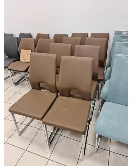 Lote de 6 chaises CAVADORE Cap en acier chromé et PVC Cappuc