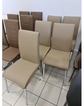 Lote de 6 chaises CAVADORE Beg en acier chromé et PVC Beige