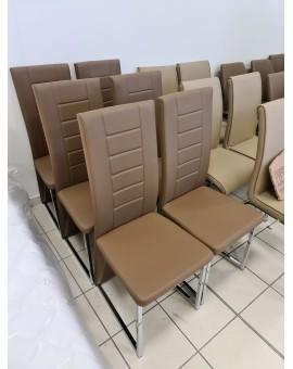 Lote de 6 chaises Cap en acier chromé et PVC Cappuc