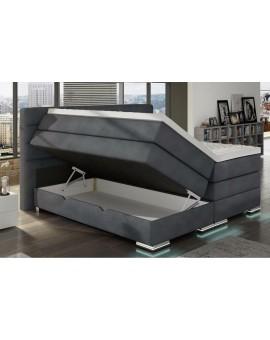 Boxspring COLLECTION AB MAX LEDS 180/200cm Tissus gris coffre doublé