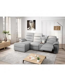 Canapé d'angle ZENKA de relaxation en tissu avec accoudoir modulable et amovible coffre + chargeur à induction QI + coffre