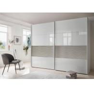 Armoire Wiemann Texel 295/236/79cm verre trempé blanc et gris