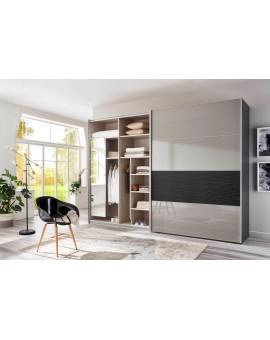 Armoire WIEMANN »Texel« 246/217/67cm graphit gris galet vitré