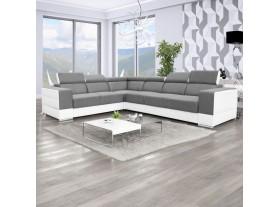 Salon Eva 1 Tissus Gris PVC Blanc 320/260cm