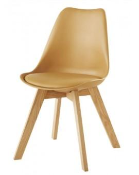 Lot de 6 chaises scandinaves assise PVC et chêne massif